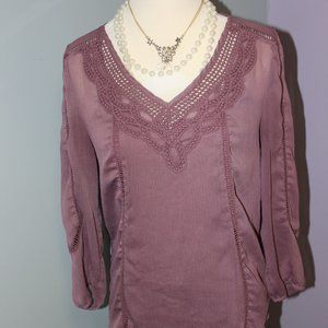 Daniel Rainn Purple Embroidered Blouse S